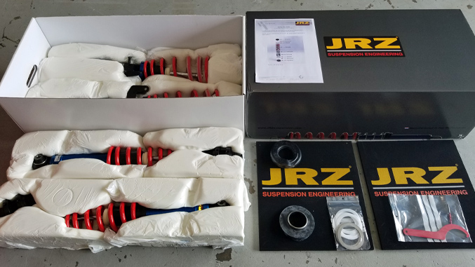 In the Box. JRZ Touring RS Two Coil-Over Kit as received in packaging.